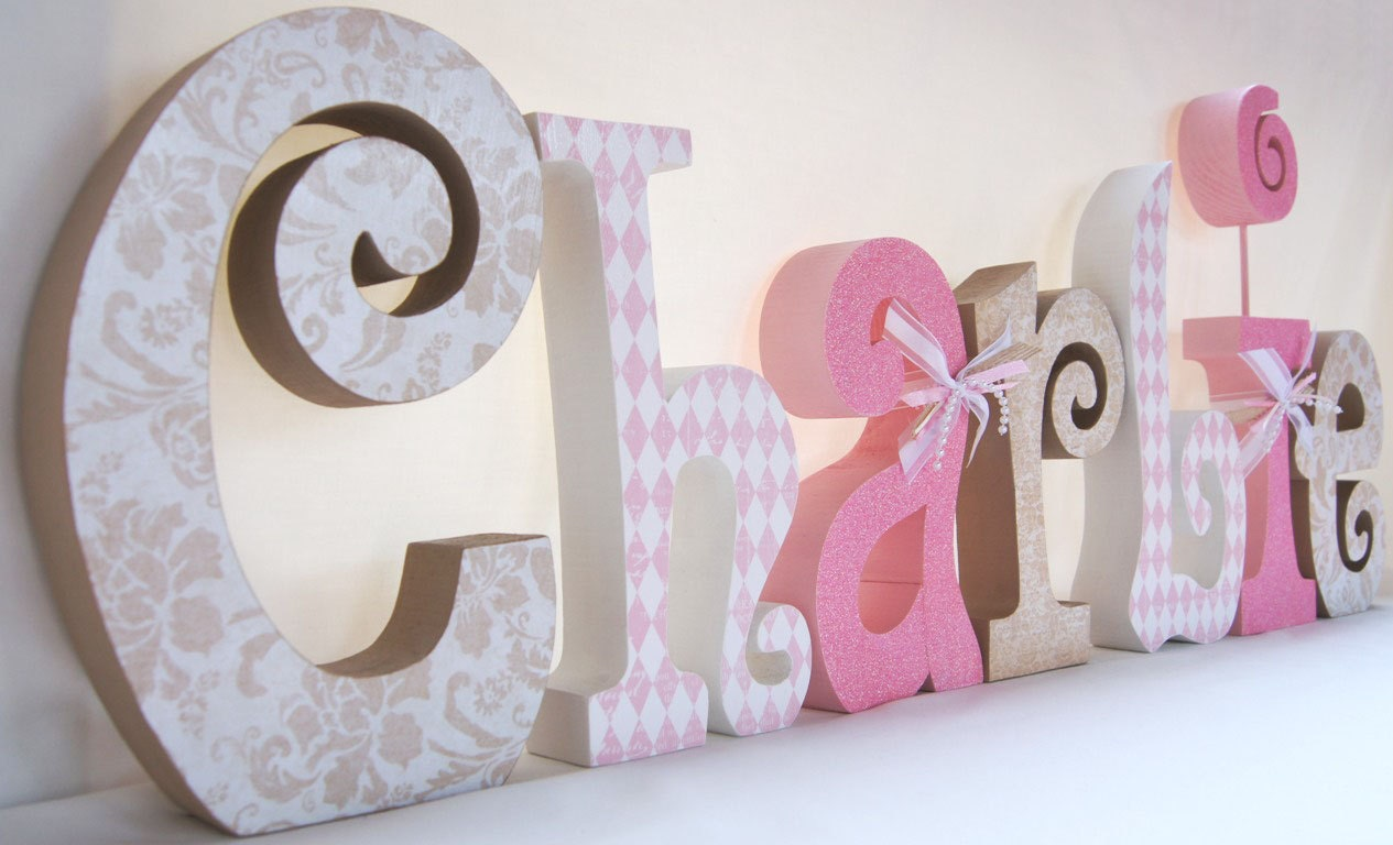Baby room decorations letters photograph baby room decor d for Baby name decoration ideas