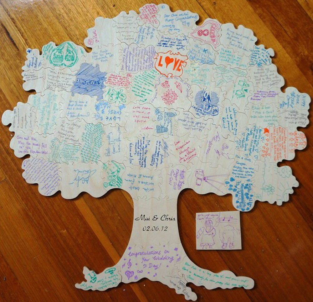100 pc wedding guest book tree puzzle rustic by