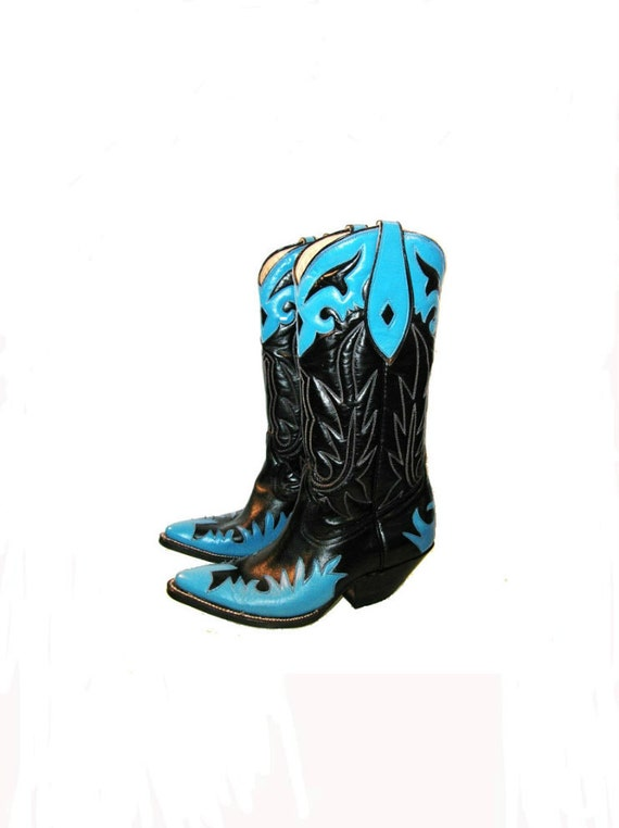 Vintage Cowboy Boots Woman's Rancho Loco Black and Blue Leather Western Boots US Size 5