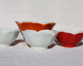 Lotus Cups 3 Small Vintage porcelain bowls Red White Rice bowl Tea cups