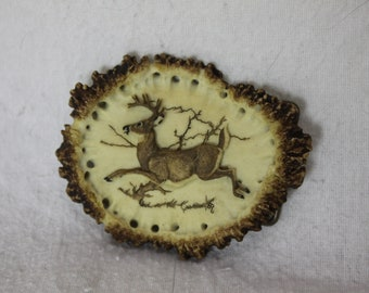 Rare John Rasmussen Jumping Deer Vintage Belt Buckle carved Antler Bone Design 1984 Unique Woodland Design Forest outdoors Hunting Nature