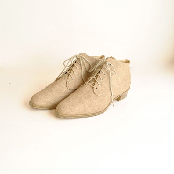 Linen Ankle Boots Size 9 1/2  //   Lace Up Boots  Sz 9.5  //  FLAX and REED