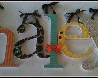 Baby Girl Wooden Letters, Nursery Name Letters- Sweet Safari Theme, Animal Prints, Jungle Room Decor, - Brown Orange Aqua Yellow