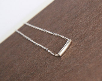 Sterling Silver Necklace,Bar Necklace,Delicate Silver Necklace,Tiny Tube,Silver Necklace,Everyday Necklace,Minimal Necklace,Bridesmaid Gift
