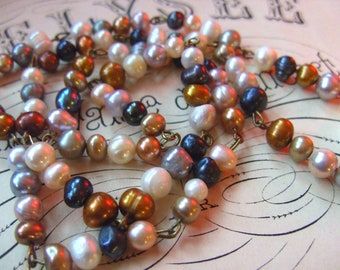 Sweet water PEARL, necklace, medium, Natural colours, by NewellsJewels on etsy