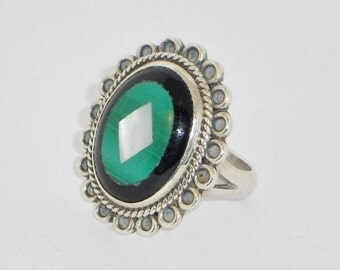 SALE Vintage Malachite Onyx Mother of Pearl Sterling Ring, Size 7, Jewelry