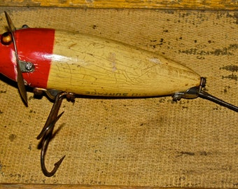 Antique Heddon Surface Minnow Wooden / Wood Fishing Lure with Glass Eyes & Metal Collar
