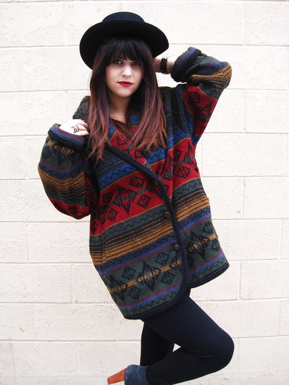 Vintage 90s 1990s Southwestern Carpet Coat Aztec Tribal Ethnic