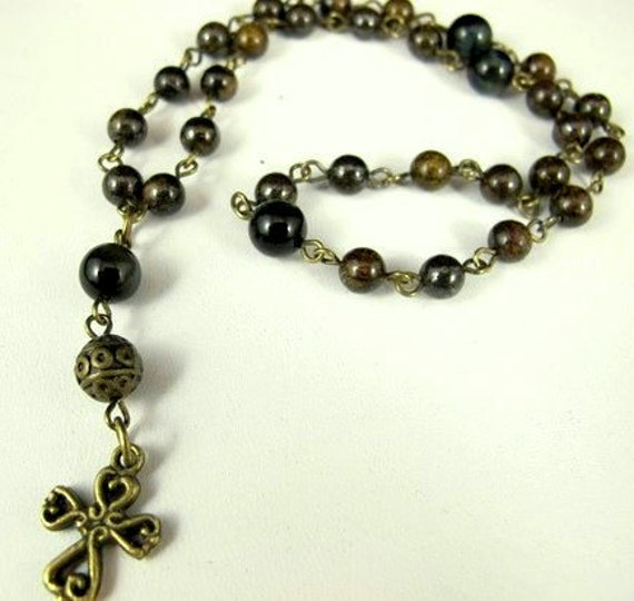 Anglican Prayer Beads--Blue Tiger Eye and Bronzite