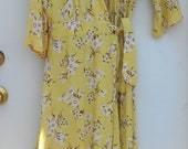 Vintage Handmade Woman's Yellow and Floral Long Robe