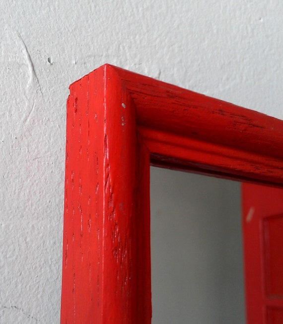 Small Framed Accent Mirror in Bright Blood Orange 7 by 5 inches