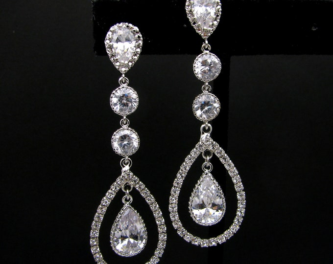 bridal wedding Clear white teardrop AAA cubic zirconia on teardrop cz white gold post earrings with double circular cz connectors