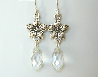 Jasmine Star Earrings - Sparkly Swarovski Crystals - Antique Pewter and Sterling Silver - Bridesmaids - Color Options