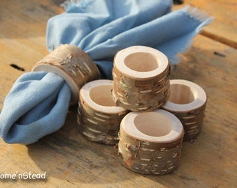 Rustic Napkin Birch Bark (6 pcs) Ring Holders Wedding Decor Log Home Kitchen Party Favor Thanksgiving Table Set