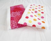 Pink Polka Dots and Flowers Baby Burp Cloths - Set of 2