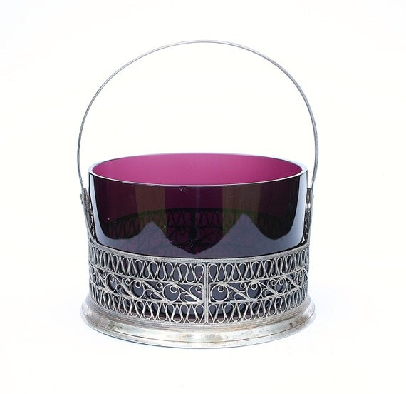 Vintaqe sugar bowl from Russia violet purple