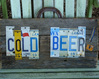 Cold Beer License Plate Bar SIgn Man Cave Wood Fence Panel Sign