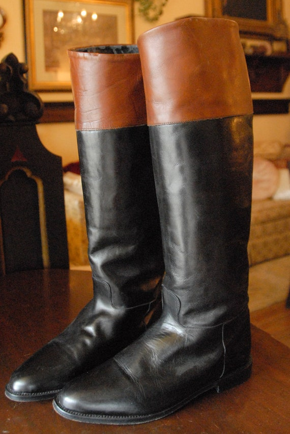 Leather Two Tone Black and Brown Riding Boots Clifford Willis