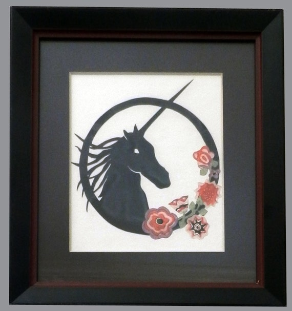 Framed unicorn paper cutting with flowers - REDUCED PRICE!
