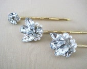 Vintage style Rhinestone and pearl bobby pins handmade wedding