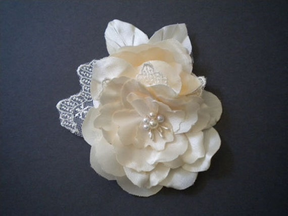 STORE CLOSING Clara Bridal Hair Clip Ivory - Rustic Bridal Fascinator Peony Satin Flowers  Handmade Wedding