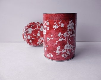 red floral Daher vintage DECORATIVE TIN-Made in ENGLAND -cherry blossoms