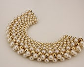 Vintage Detachable Pearl And Gold Collar Bib Necklace Choker