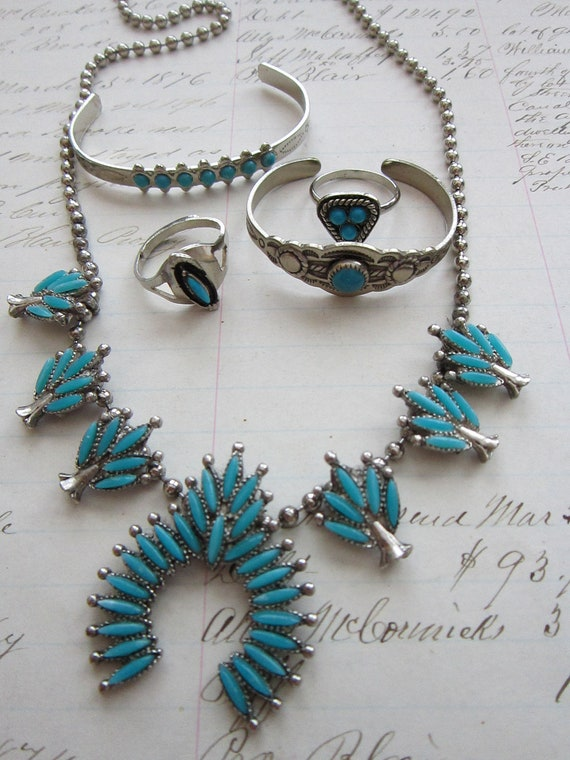 vintage souvenir jewelry - SOUTHWEST style - bracelets for doll or child, necklace, adjustable rings
