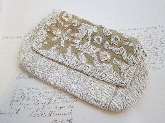 RESERVED for Robin - antique beaded clutch - microbead, zippered, 1930s or earlier
