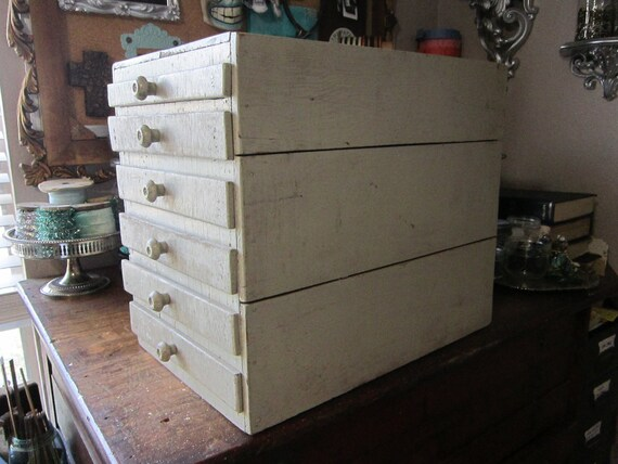 vintage handmade wooden cabinet with large shallow drawers - distressed, shabby - great for laipdary and tool storage