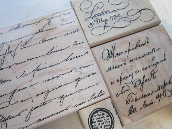 4 rubber stamps - SCRIPT, text, handwritten background - used