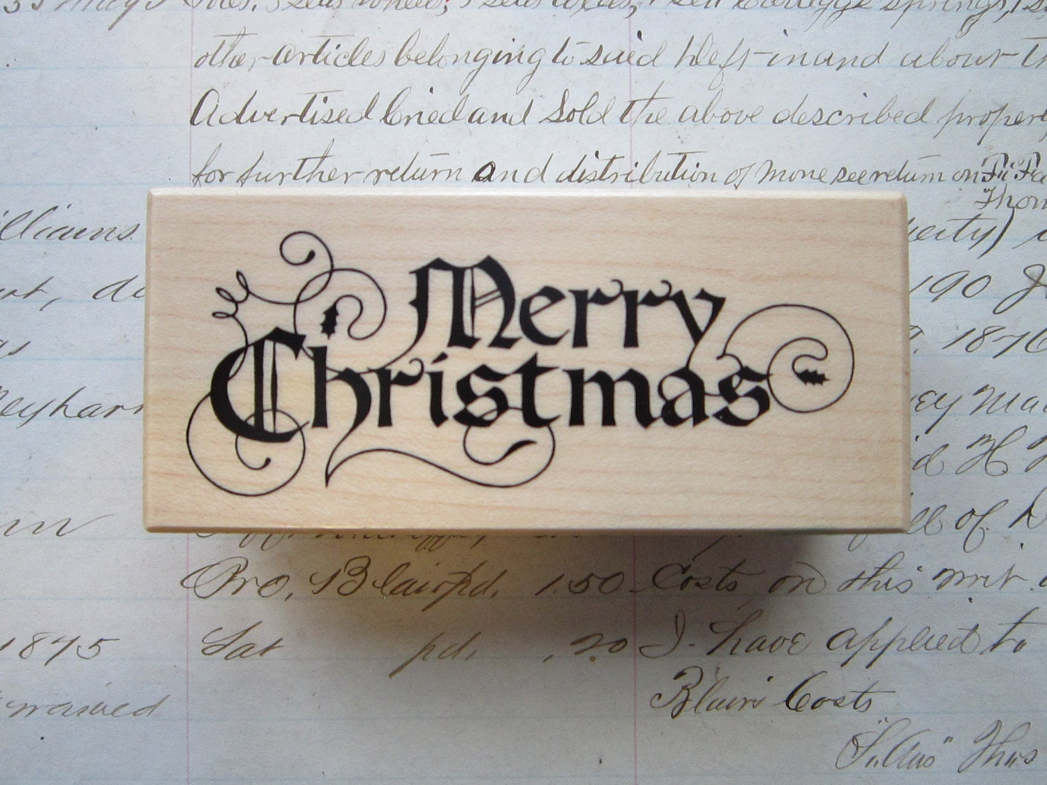 Vintage Rubber Stamp Merry Christmas Calligraphy Font