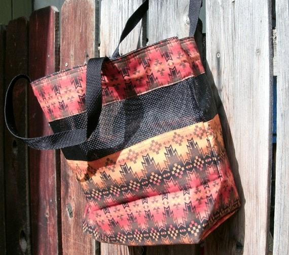 Earth Tones Native American-made Fabric and Mesh Tote Bag