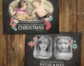 5x7 Chalkboard Stockings Holiday Card - Photoshop PSD