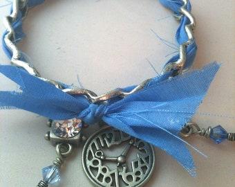 Ribbon, Clock, and Crystal Antiqued Silver Steampunk Bangle Bracelet