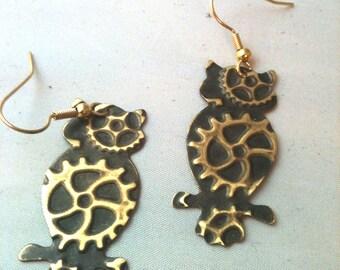 Gear Embossed Owl Steampunk Earrings