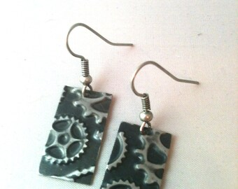Black Patina Gear Embossed Steampunk Earrings