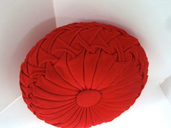 Mid Century Modern Round Pillow : Round Red Pillow Pintuck Mid Century Pillow Bright Red