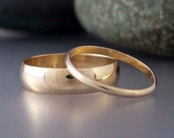 Gold Wedding Ring Set, His and Hers  - 2mm and 6mm Wide Half Round Bands in 14k Yellow Gold