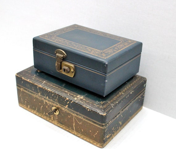 pair of vintage jewelry boxes // Italian leather w/key // velvet lined