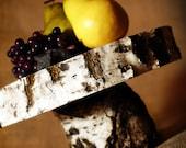 "11"" White Birch Rustic Wood Cake Stand"