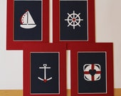 Set Sail Handmade Paper Art 4 Piece Collection (5x7) -- Nursery/Children's/Beach/Nautical Decor