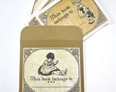 Bookplates Little Girls Reading Set of 12 Sticker Vintage-inspired Book Plates