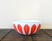 "mod style 8"" red cathrineholm lotus bowl - danish modern"