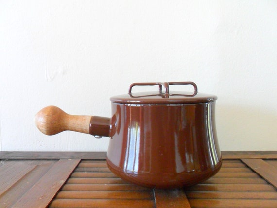 vintage 60s brown enamel dansk kobenstyle sauce pan - MOD - danish modern - autumn colors