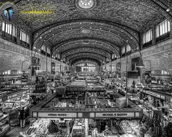 The West Side Market B&W, Cleveland Ohio  Fine Art   Black and White Photographic Print