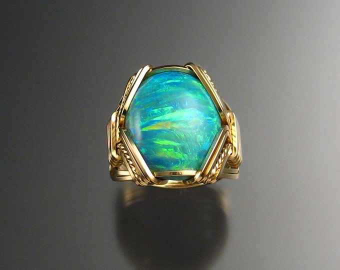 Green Lab created Opal ring, 14k Gold-filled, Size 6 1/2