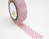 Washi tape Pink and green scotch pattern Free Shipping