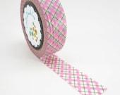 Washi tape Pink and green scotch pattern Free Shipping