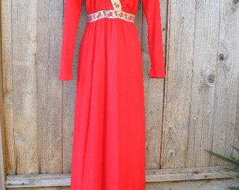 Red 70s Vintage House Dress With Metallic Gold Floral Detailing At Neck And Chest Area